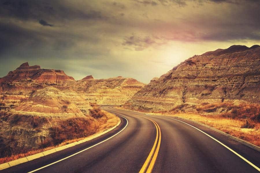 Road in Badlands National Park