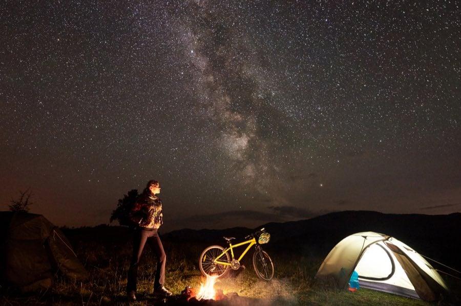 Bike Camping Under Milky Way