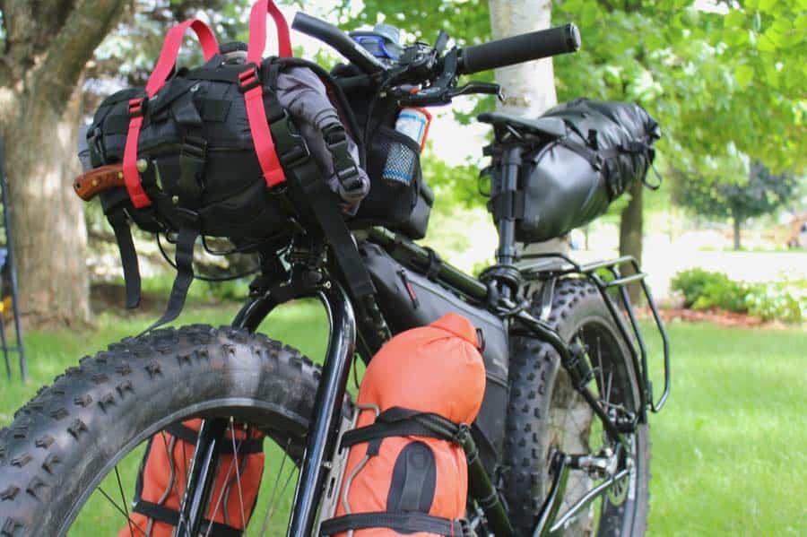 Bikepacking Bike With Fat Tires Loaded for Bike Camping