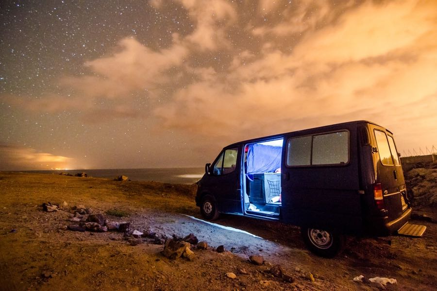 Van Camping at Night