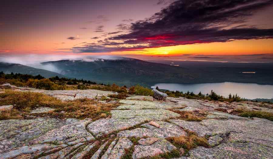 Sun set in Acadia national park, cadillac mountain