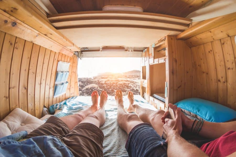 Couple Inside a Camping Van