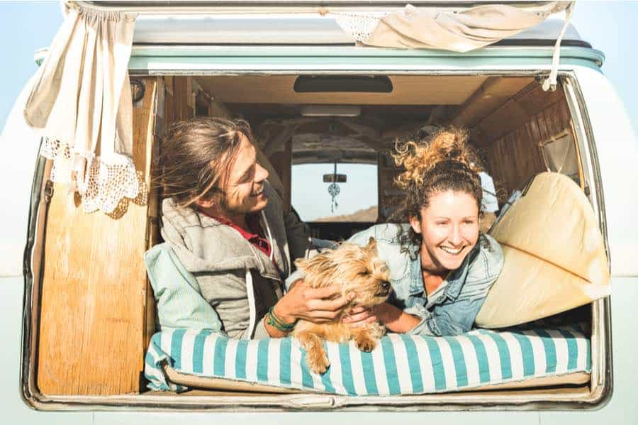 Couple Van Camping With a Dog