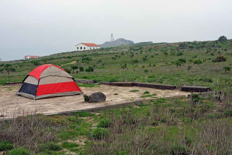 Camp Site and Tent on Anacapa Island, Channel Islands, California