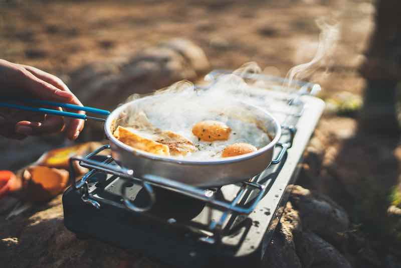 Fried Eggs while camping