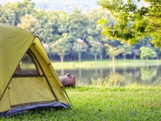 How to clean a tent that smells: Tent by a river