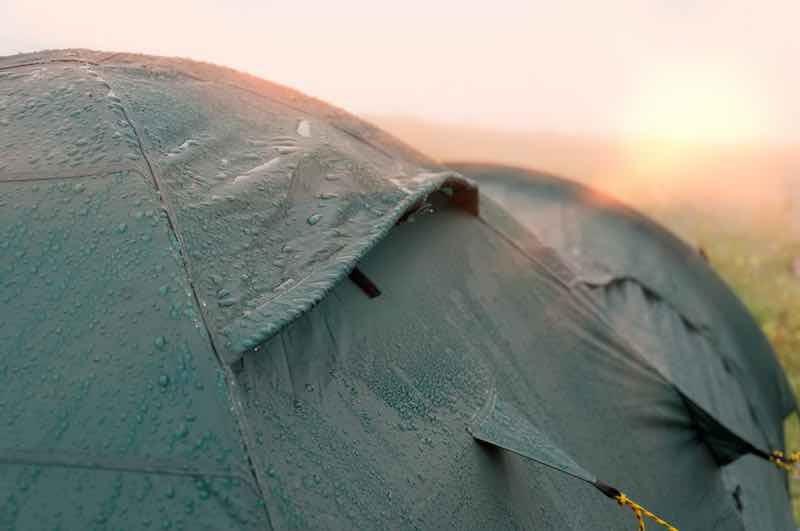Wet tent in sunrise