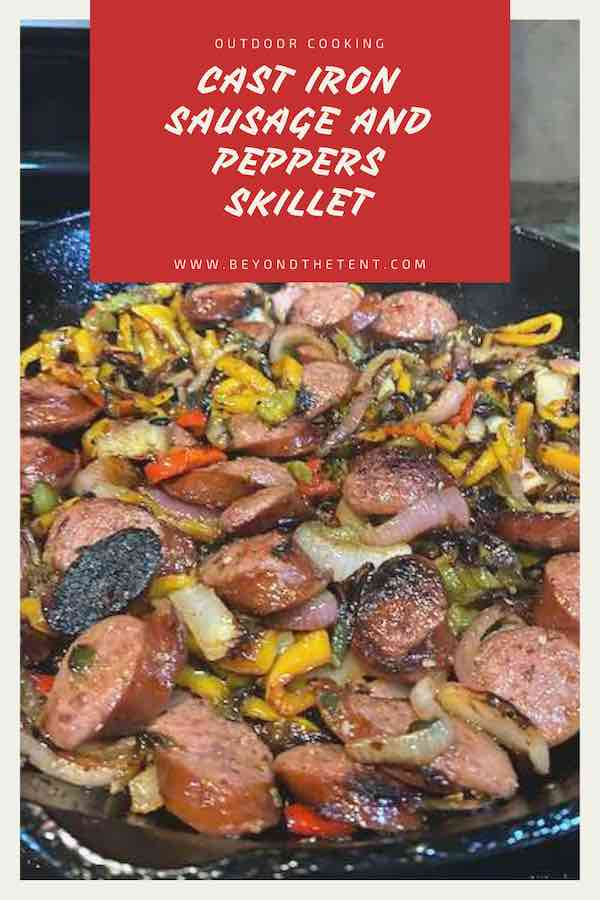 Easy Outdoor Cast Iron Sausage and Peppers Skillet 2