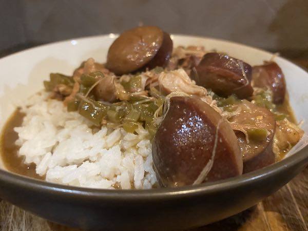 Amazing Chicken and Okra Gumbo ready to enjoy! Serve over rice.