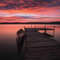 dock on lake in adirondacks in new york state
