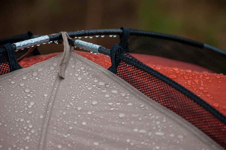 rain on the roof of a tent